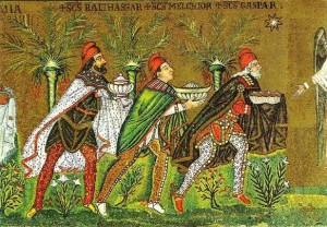 A Háromkirályok ábrázolása egy ravennai mozaikon.