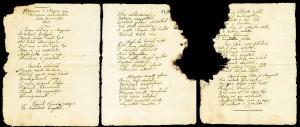 A Hymnus két lapon található, tintamarás miatt megsérült, eredeti kézirata.