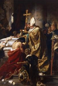 Benczúr Gyula: Vajk megkeresztelése (1875)