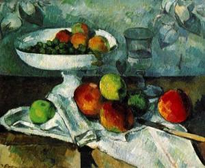 Cézanne: Csendélet gyümölcsöstállal, 1879–80 46 x 55 cm olaj, vászon New York, Museum of Modern Art