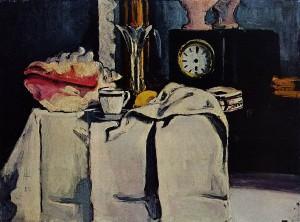 Paul Cézanne: Feketeórás csendélet, 1868 körül 54 x 74 cm olaj, vászon Philip Niarchos gyűjteménye