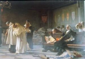 Nicolò Barabino festménye: A salamancai bölcsek kigúnyolják Cristoforo Colombót (1887)