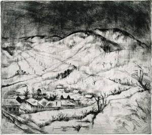SZŐNYI ISTVÁN: Behavazott falu (Téli táj, Zebegény télen) 1928 rézkarc, papír (Magyar Nemzeti Galéria, Budapest)