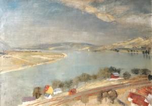 Szőnyi István (1894-1960): Szürke a Duna, 1935 Olaj, tempera, vászon, 70,5x99,5 cm