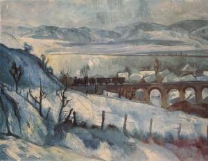 Szőnyi István: Viadukt (Téli táj vasúttal) - 1927