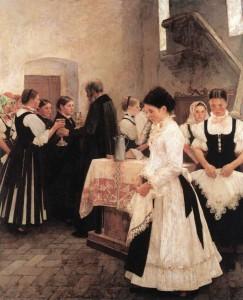 """""""Ezt cselekedjétek az én emlékezetemre!"""" (Úrvacsora) (1890) olaj, vászon, 136,5x111 cm (MNG)"""