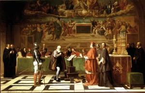 Joseph-Nicolas Robert-Fleury (1797. augusztus 8. – 1890. május 5.) francia festőművész: Galilei az inkvizíció előtt (1847)