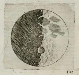 Galileo Galilei rajza a Holdról (1609)