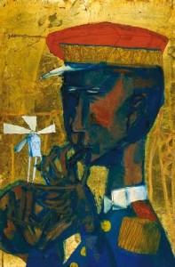A mű-tücsök felbocsátása (1958) olaj, arany, farost, 46x30 cm