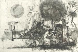 Paradicsom, kiűzetés - Illusztráció Madách Imre: Ember tragédiája című drámájához - (1964)