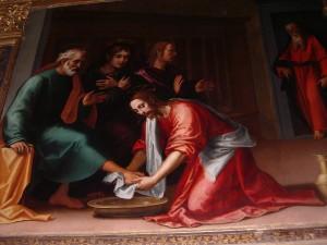 """Giovanni Antonio Sogliani olasz festőművész (1492–1544) Jézus megmossa a tanítványok lábát (1531) """"Aki megfürdött, annak csak a lábát kell megmosni, s akkor egészen tiszta lesz. Ti tiszták vagytok, de nem mindnyájan"""". (Jn.13,4-10.)"""