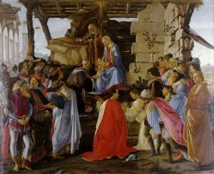 Háromkirályok imádása 1475-1477 A térdeplő alak Cosimo de' Medici, mellette Piero és Giovanni, körülöttük a Medici-udvar több tagjával. (Firenze, Uffizi)