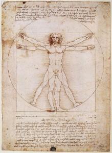 """Vitruvius-tanulmány """"Az ember kinyújtott karjainak hossza megegyezik a magasságával. A haja tövétől az álla hegyéig terjedő szakasz egytizede a magasságnak; az álla hegyétől a feje tetejéig terjedő szakasz egynyolcada a magasságának; a mellkasa tetejétől a haja tövéig egyhetede az egész embernek."""""""
