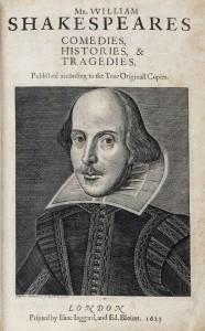 Az első folió címlapja Shakespeare portréjával (1623)