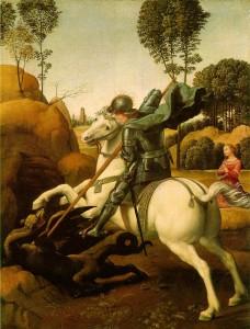 Raffaello Sanzio: Szent György és a sárkány (1505-1506) Louvre