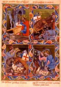Anjou legendárium: 1. kép: A király kereszttel védekezik a démon ellen 2. kép: Szent László harca a kunokkal 3. kép: Szent László megsebesül 4. kép: Szent László birkózik a kunnal, akinek lábát a lány elvágja