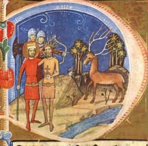 Géza király és László herceg látomásában agancsain égő gyertyát viselő szarvas (Képes Krónika)