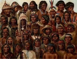 Különböző népekhez tartozó indiánok (20. századi festmény)