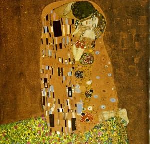 Gustave Klimt: A csók (Der Kuss) 1908 olaj és vászon, Österreichische Galerie, Wien