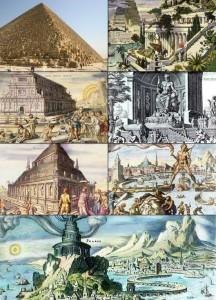 Az ókori világ hét csodája, fent balról indulva: Gízai piramisok, Szemiramisz függőkertje, Artemisz-templom, Zeusz-szobor, halikarnasszoszi mauzóleum, rodoszi kolosszus, pharoszi világítótorony