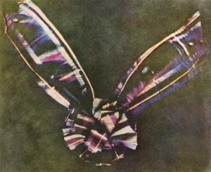 A világ első színes fényképét 1861. május 17-én mutatta be James Clerk Maxwell (1831-1879), skót matematikus és fizikus egy színelméleti előadáson a londoni Royal Institution hallgatósága előtt (James Clerk Maxwell: Tartan Ribbon, Three-Color Carbon Print, 1861.)