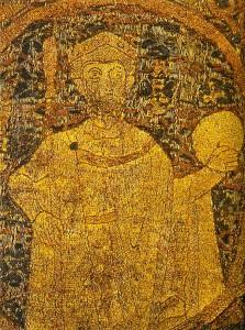 Szent István egyetlen fennmaradt korabeli ábrázolása a koronázási paláston látható