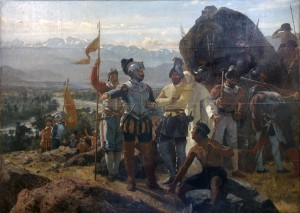 Pedro Lira: Santiago megalapítása Santiago de Chile városát Pedro de Valdivia alapította 1541. február 12-én Santiago de Nueva Extremadura néven