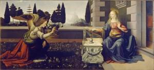 Leonardo Da Vinci: Angyali üdvözlet (1472-1475) Firenze, Uffizi képtár