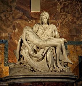 Michelangelo: Pietà 1498.–1499. Méretek: 1,74 m x 1,95 m Márvány Szent Péter-bazilika