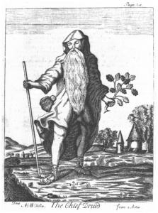 Kelta druida főpap szent tölgyfaággal. Hitük szerint samhain ünnepén az élők és a holtak világa közti korlát megszűntét tisztelték, az őszi napéjegyenlőség és a leghosszabb téli nap között.
