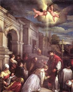 Jacopo Bassano: Szent Bálint keresztel (1575)