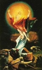Feltámadás, Matthias Grünewald fő művének, a híres isenheimi szárnyas oltárnak az egyik képe (forrás: wikipedia)