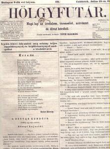 """A Hölgyfutár """"közlöny az irodalom, társasélet, művészet és divat köréből"""" (1849–1864)"""