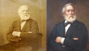 Kossuth Lajos 1877-ben készült fotográfiája (balra), az annak alapján festett Kossuth-portré 1906-ból (jobbra)