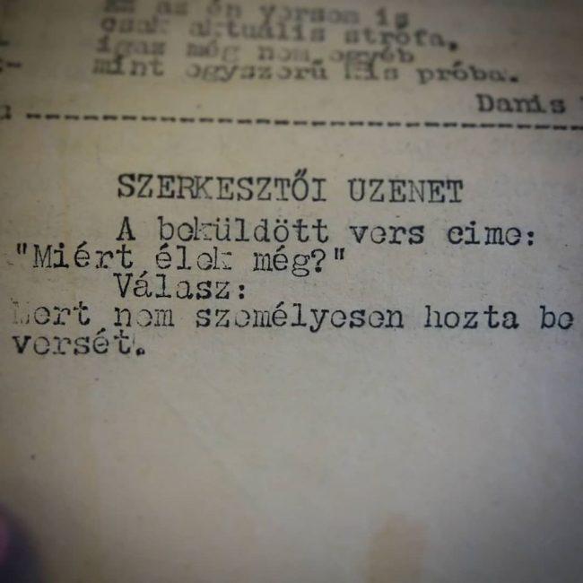 Szerkesztőségi üzenet, 1939: